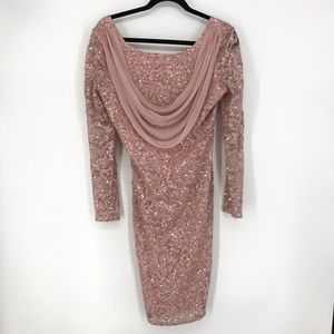 Onyx Nite Sz 10 Long Sleeve Pink Sequin Dress